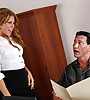 Smoking hot blonde MILF strips in the office and gets fucked by her coworker.