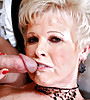 Horny blonde granny strips slowly on the sofa and gets fucked by younger dick.