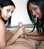 Horny and lusty black bitch takes her clothes off and shares a cock with her friend.