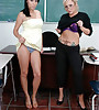 Classy blonde MILF teacher and a female student share a big cock in the classroom.