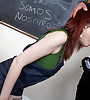 Foxy redhead schoolgirl seduces her teacher and rides on his throbbing prick.