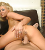 Busty blonde MILF removes her black lingerie and jumps on hard fat meat pole.