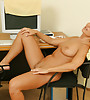 Gorgeous raven with a perfect curvy body stripping and teasing in the office