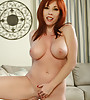 Gorgeous sexy redhair milf with big beautiful perfectly shaped boobs poses and teases