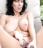 Sexy slutty milf with a hot body and massive hanging natural boobs masturbating