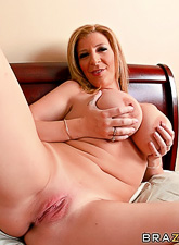 Beautiful and seductive blonde gal takes her lingerie off and sucks big hard meat rod