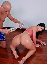Foxy brunette bitch takes her fishnet lingerie off and rides a big hard dong