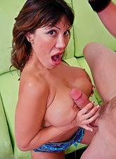 Big breasted brunette MILF hoe takes her clothes off and fucks with her hung lover