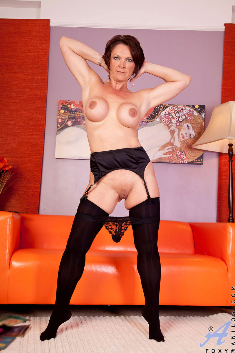 Off black showing stockings milf