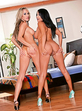 Foxy busty blonde hottie and her brunette friend swap partners on their couch
