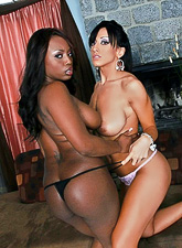 Big breasted brunette bimbo and her sexy black friend swap partners and get laid