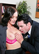 Classy office lady strips for her boss and gets nailed in pink sexy lingerie
