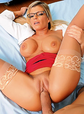 Classy blonde MILF doctor takes her clothes off and fucks in elegant stockings