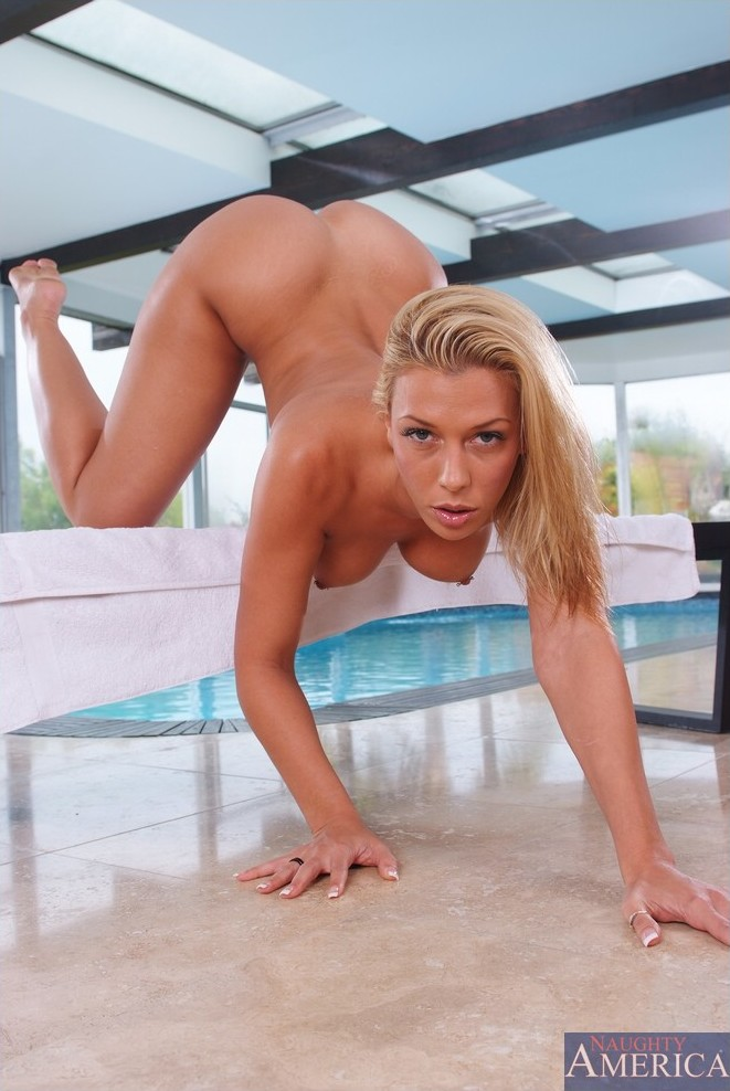 Busty blonde sensually takes it from behind 15