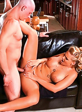 Busty blonde MILF takes her clothes off and rubs her clit while she gets nailed