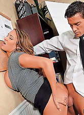 Lusty office wench takes her clothes off during a meeting and fucks with her boss.