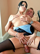Tattooed brunette hoe strips in the office and gets fucked in black stockings.