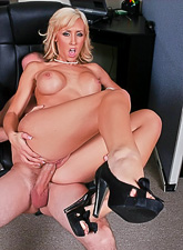 Classy big breasted blonde MILF takes her clothes off and gets fucked by her boss.