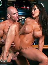 Alluring MILF lady takes her clothes off in the bar and gets screwed wildly.