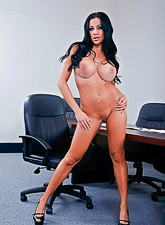 Mega breasted brunette slut strips in the office and gets nailed by her hung boss.