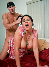 Big breasted brunette MILF takes her clothes off and gets her muff banged hard.