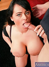 Big breasted BBW bitch takes her clothes off on the sofa and gets roughly fucked.