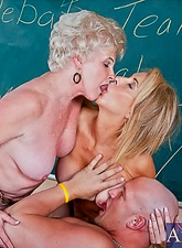 Horny granny bitches strip in the classroom and fuck with handsome bald dude.