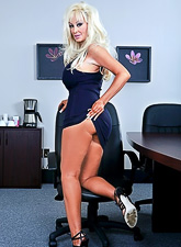 Smoking hot blonde bitch gets fucked roughly in the office by her hung coworker.