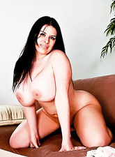 Mega breasted brunette BBW takes her blue dress off and gets rammed hard and fast.