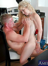 Busty blonde bitch strips her summer dress and gets her mature cunt rammed hard.