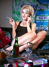 Smoking hot mature lady slowly undresses on the sofa and jumps on hard prick.