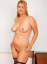 Randy blonde secretary with big jugs and sexy ass revealing her shaved wet cunny