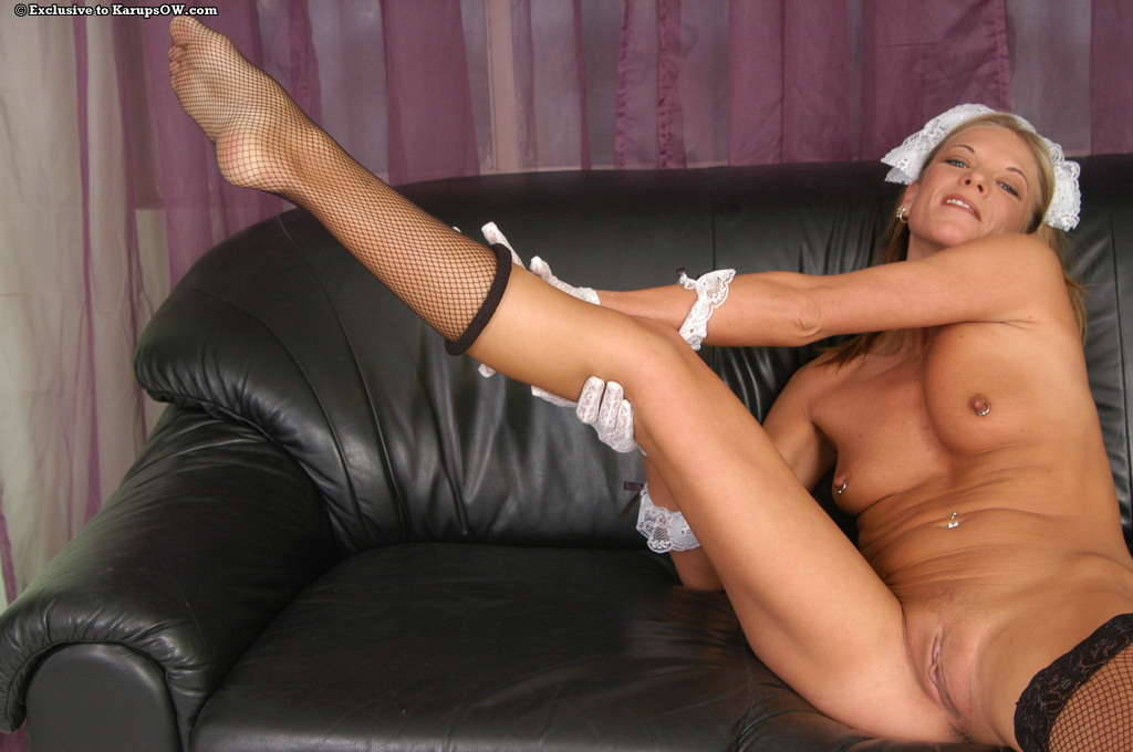 French maid shaved pussy