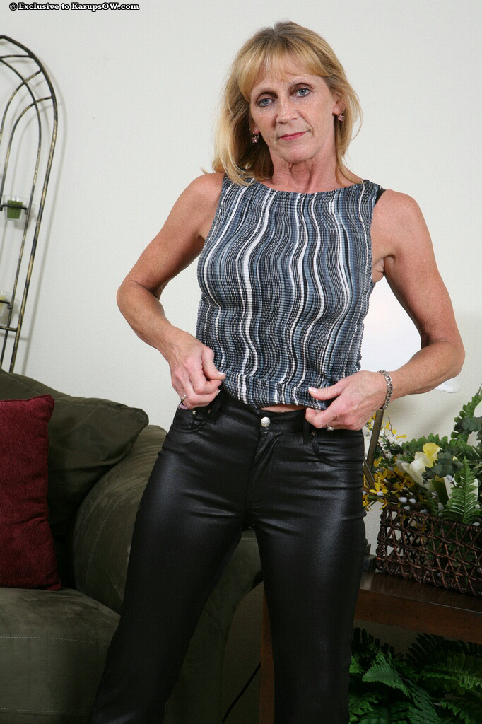 horny black leather - ... Horny granny in tight leather black pants stripping and teasing with  her saggy boobs ...