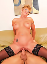Horny granny in a hot corset and black stockings has awesome wild hardcore sex