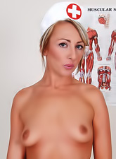 Naughty nurse gets horny at work, strips and teases with hot boobs and shaved cunt