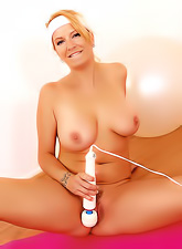 Sexy sporty blond babe gets rid of her cute clothes and masturbates with her vibrator