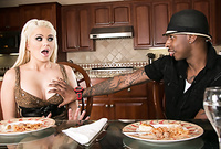 Alexis Ford takes her slutty dress off in the kitchen and fucks with handsome black dude