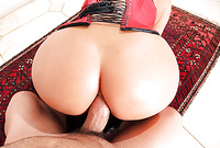 Simony Diamond takes her corset off and gets her hungry wet vagina drilled by her lover's big throbbing cock