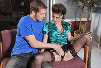 Jenni Lee takes her classy, satin lingerie off and then gets screwed by handsome young bloke