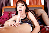 Claire Dames takes her sexy black bodystockings off and sucks her lover's big throbbing piece of mae
