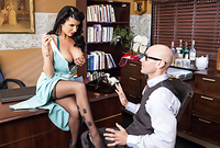 Romi Rain takes her classy blue dress off for a bald guy and pleases him with an amazing deep blowjob for the camera