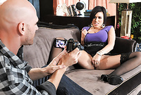 Eva Angelina takes her sexy black stockings off and gets her fanny drilled from behind