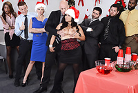 Jessica Bangkok takes her classy dress at the office party and has amazing sex with a couple of guys