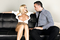 Devon takes her slutty tight skirt off and gets her hungry vagina drilled by throbbing piece of wood