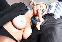 Emma Starr takes her sexy, classy outfit and then pleases her handsome lover with a great deep blowjob for the camera