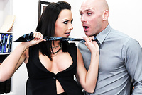 Chanel Preston takes her slutty black dress in the office and gets her hungry vagina banged hard and fast