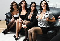 Ava Addams, Francesca Le, Vanilla DeVille and  Veronica have amazing CFNM group sex with their mutual lover