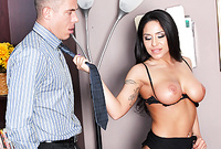 Jenaveve Jolie takes her sexy and classy black lingerie and pleases her hung lover with an amazing deep blowjob