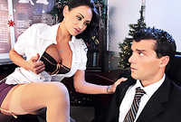 Claudia Valentine wears tight skrit and nylon stockings as she gets screwed by her handsome well hung lover